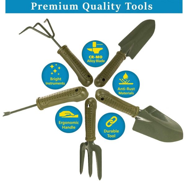 Portable 4 Piece Gardening Hand Tool Set Spade Rake 6-in-1 Garden Tool
