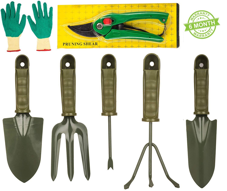 7 Pieces Gardening Tools Seed Handheld Shovel Rake Spade Trowel